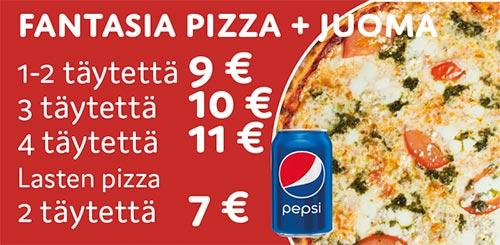 Fantasia pizza + juoma