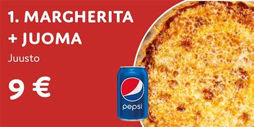 Pizza Margherita + juoma