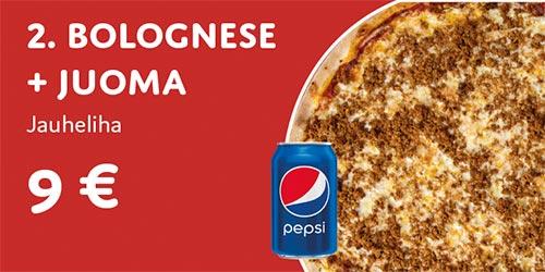 Pizza bolognese + juoma
