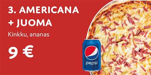 Pizza Americana + juoma