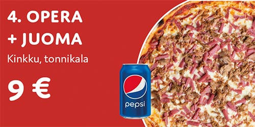 Pizza Opera + juoma