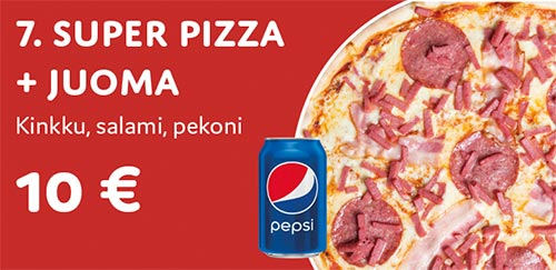 Super pizza + juoma