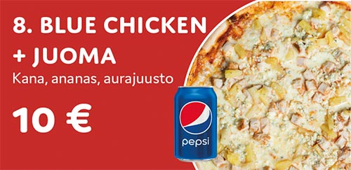 Pizza Blue chicken + juoma