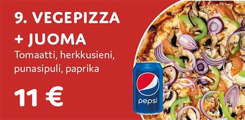 Vegepizza + juoma