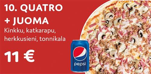 Pizza quatro + juoma