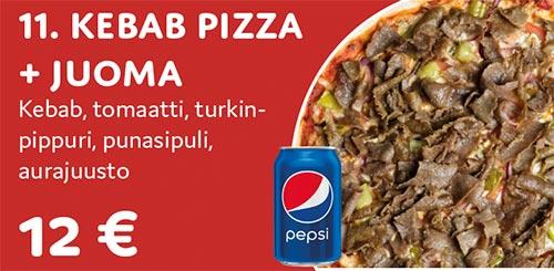 Kebab pizza + juoma
