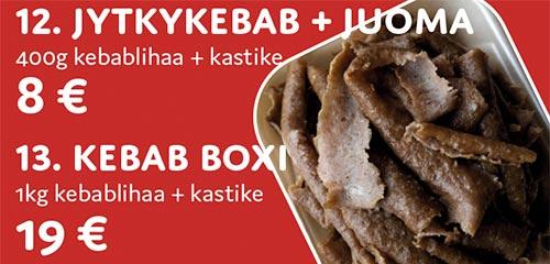 Jytkykebab + juoma tai Kebab boxi